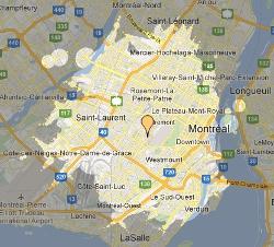 Carte des distances à Montréal